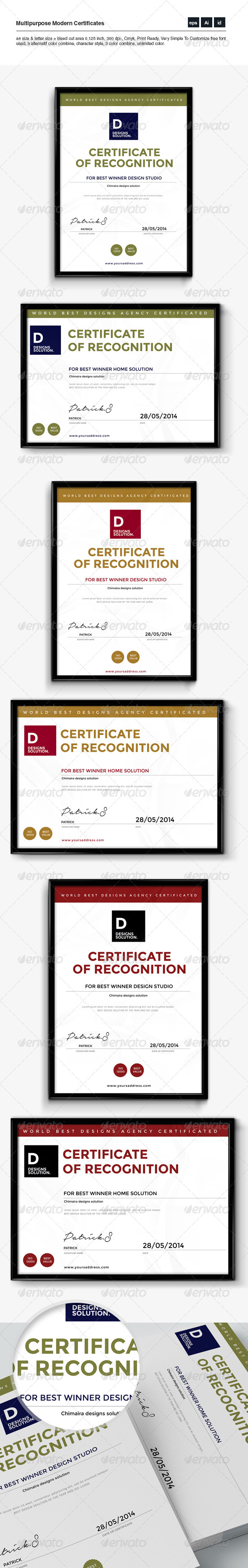 GraphicRiver Multipurpose Clean & Modern Certificates 8130676