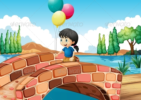 GraphicRiver Girl with Three Balloons Walking Along a Bridge 8130746