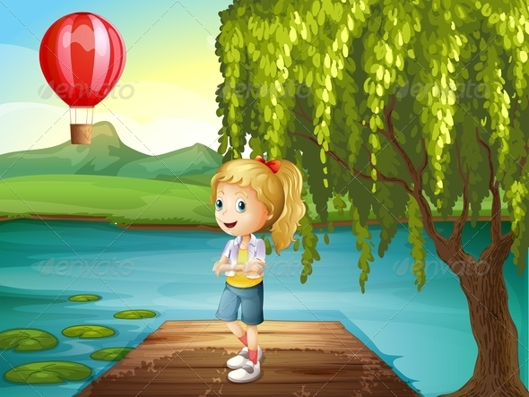 Girl Standing on a Dock with a Hot Air Balloon