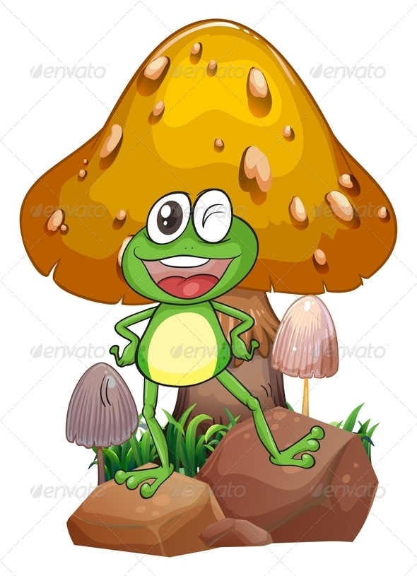 GraphicRiver Smiling Frog Near a Giant Mushroom 8130764