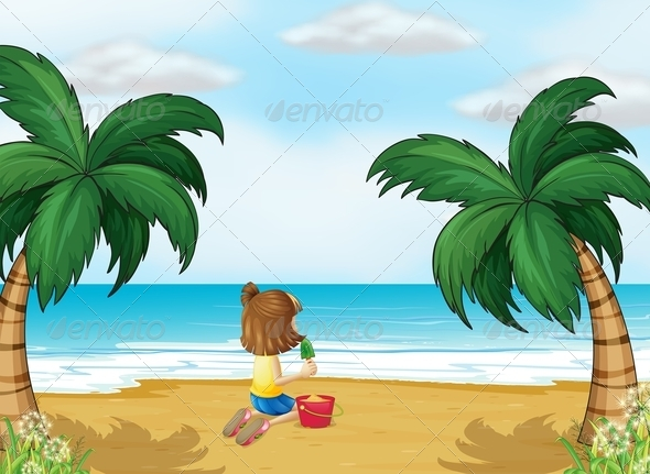GraphicRiver Little Girl Playing at the Beach Alone 8130770