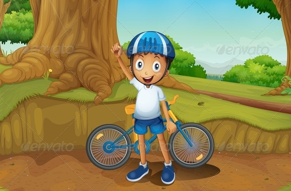 GraphicRiver Young Biker in the Forest 8130808