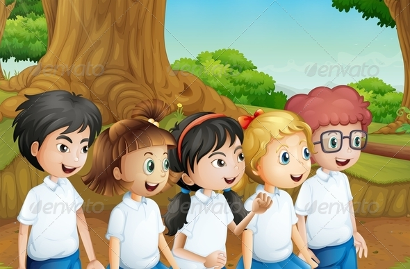 GraphicRiver Group of Students in the Forest 8130859