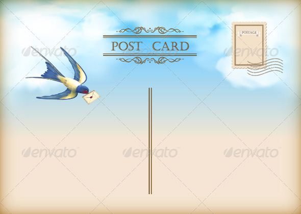 GraphicRiver Sky Bird Letter Mail Postcard 8130909