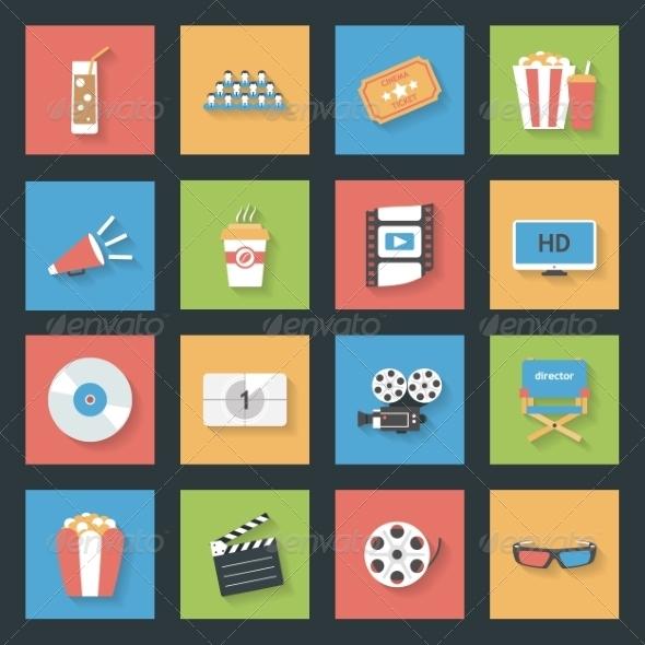 GraphicRiver Cinema Flat Icons Set 8130912