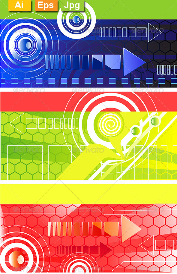 GraphicRiver Horizontal Banners with Symbol Arrows 8130913