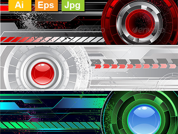 GraphicRiver Horizontal Banners with Abstract Mechanisms 8130922