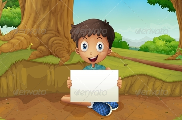 GraphicRiver Boy Holding an Empty Signboard 8130924