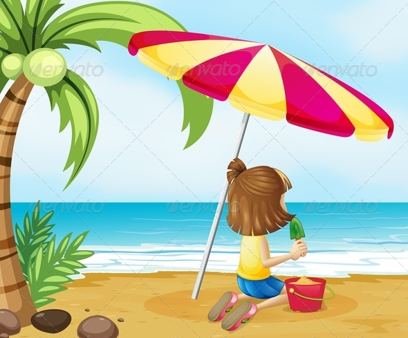 GraphicRiver Young Girl Playing with a Sand Castle at the Beach 8130925