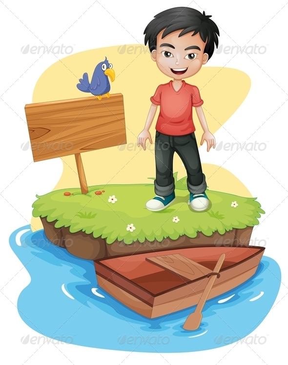 GraphicRiver Boy Near an Empty Signboard with a Bird 8130950