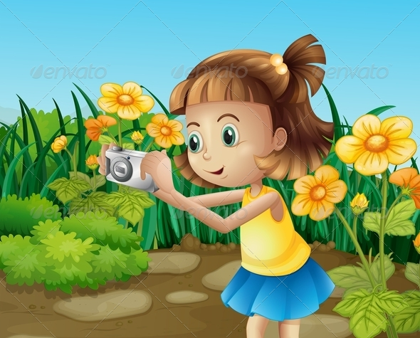 GraphicRiver Girl Taking Photos in the Garden 8130960