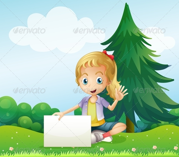 GraphicRiver Girl on a Hill Holding Empty Signage 8131114
