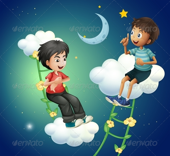GraphicRiver Two Boys Talking Near the Moon 8131193