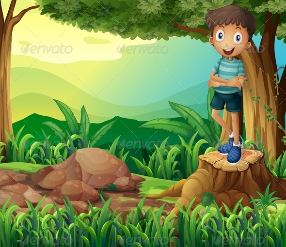 GraphicRiver Smiling Boy on a Stump of a Tree 8131204