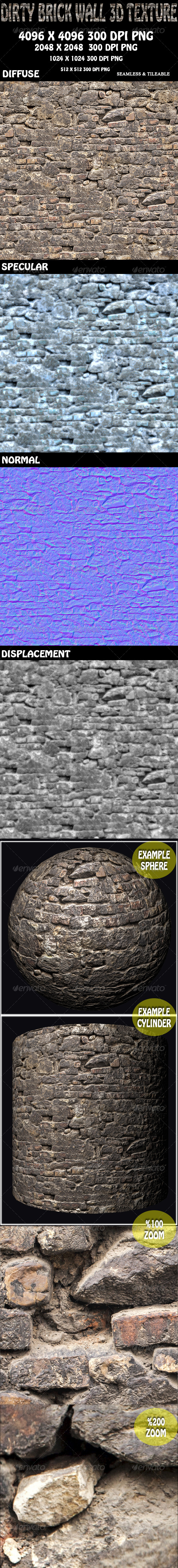3DOcean Dirty Brick Wall Texture 8131213