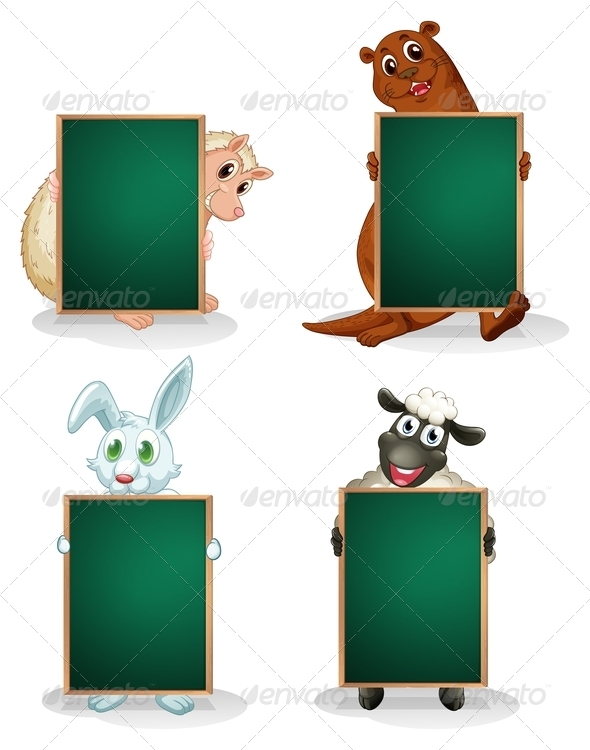 GraphicRiver Blackboards in Front of the Animals 8131214