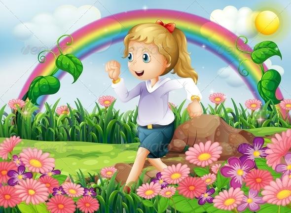 GraphicRiver Girl Running in the Garden 8131231