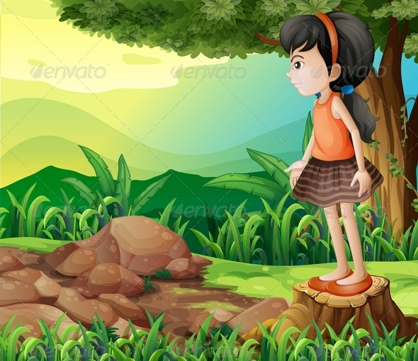 GraphicRiver Little Girl Standing on a Stump 8131263