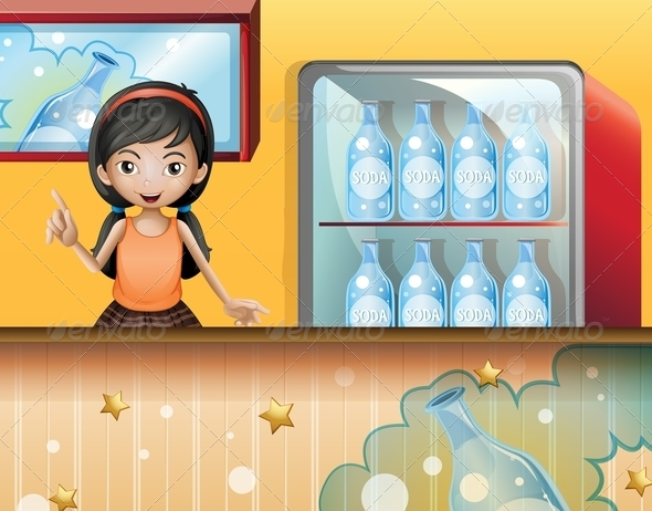 GraphicRiver Young Lady Selling Soda 8131308