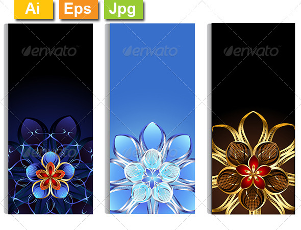 GraphicRiver Vertical Banners with Abstract Flowers 8131355