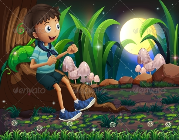 GraphicRiver A Young Boy Sitting on the Roots of a Giant Tree 8131359