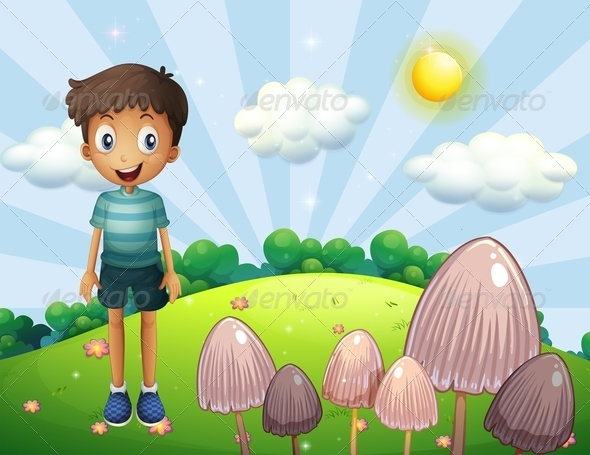 GraphicRiver A Happy Boy on the Hill with Mushrooms 8131400