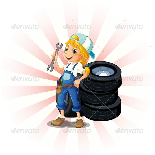GraphicRiver Female Mechanic in Front of Tires 8131413