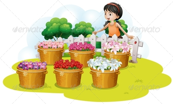 GraphicRiver Girl looking at Flowers 8131431