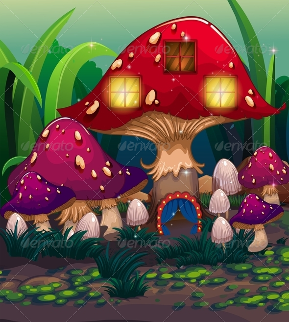 GraphicRiver Mushroom House Background 8131466