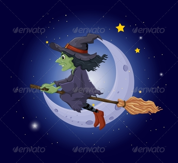 GraphicRiver Witch riding Broomstick 8131490