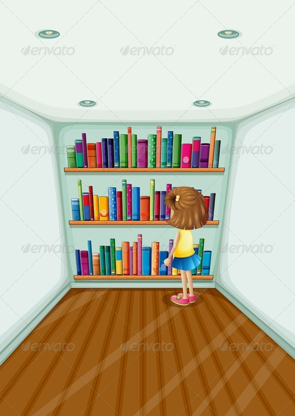 GraphicRiver Girl in front of Bookshelves 8131684
