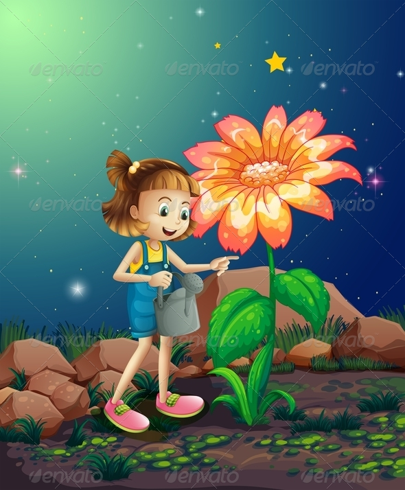 GraphicRiver Girl watering Giant Flower 8131692
