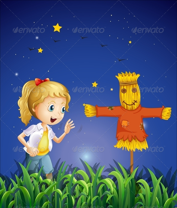 GraphicRiver Girl beside a Scarecrow 8131695