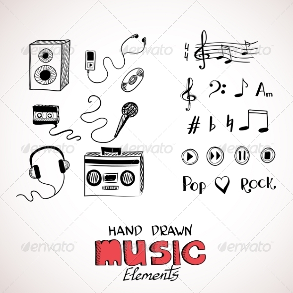 GraphicRiver Sketch of Music Elements 8131698