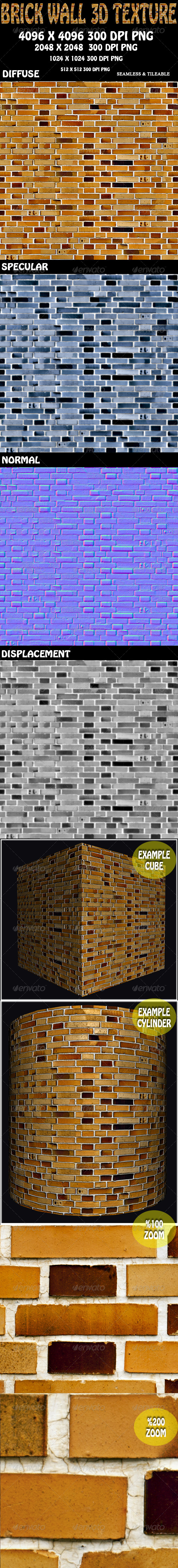 3DOcean Brick Wall 3D Texture 8131728