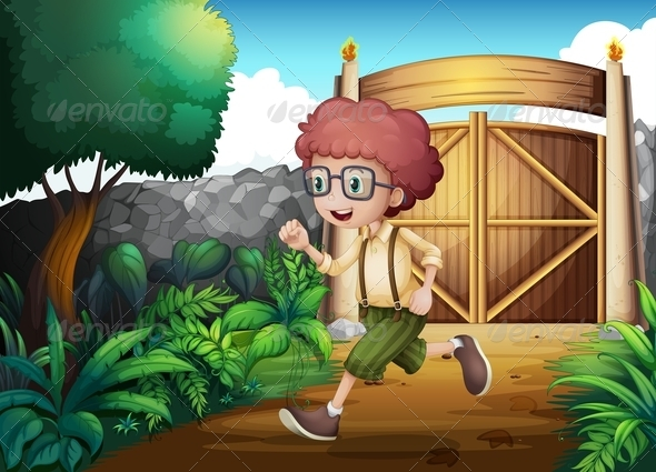 GraphicRiver A Young Boy Running Inside the Gate 8131758