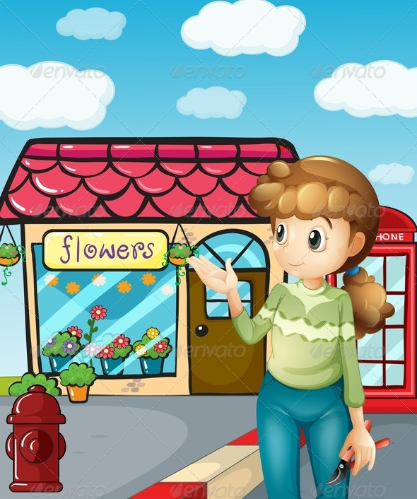 GraphicRiver A Girl Presenting the Flower Shop 8131798
