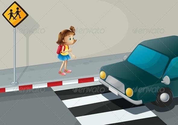 GraphicRiver A Little Girl Near the Pedestrian Lane 8131799