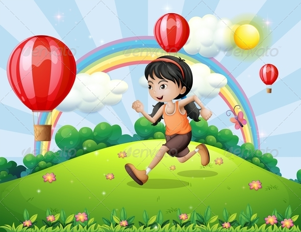 GraphicRiver A Girl Running on the Hilltop 8131839