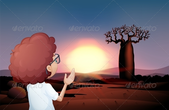GraphicRiver A Curly Boy Watching the Sunset in the Desert 8131841