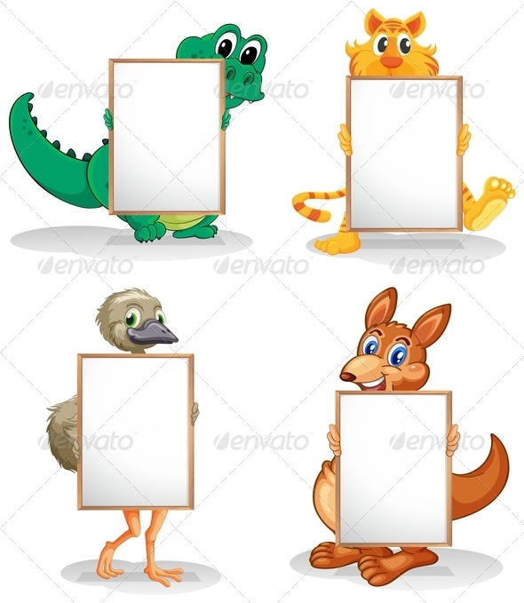 GraphicRiver Wild Animals with Empty Bulletin Boards 8131964