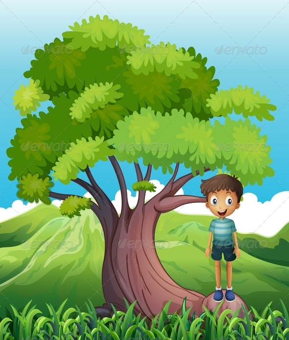 GraphicRiver Boy Standing on a Root of a Tree 8132000