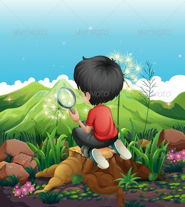 A Boy on a Stump with a Magnifying Glass