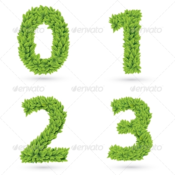 GraphicRiver Numbers of Green Leaves Collection 8132035
