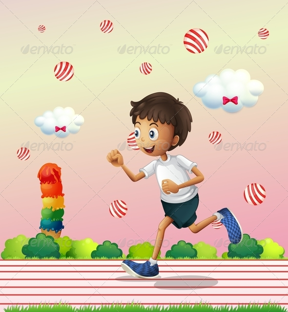 GraphicRiver A Boy Jogging at the Candyland 8132062