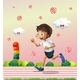 A Boy Jogging at the Candyland - GraphicRiver Item for Sale