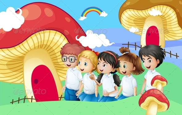 GraphicRiver Five Students by Giant Mushroom Houses 8132143