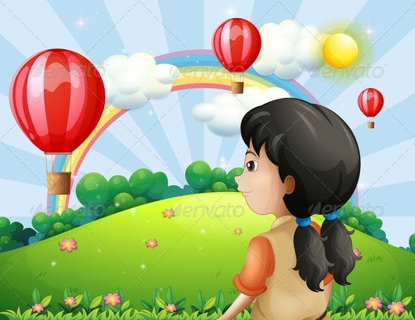 GraphicRiver A Girl Looking at the Hot Air Balloons 8132145