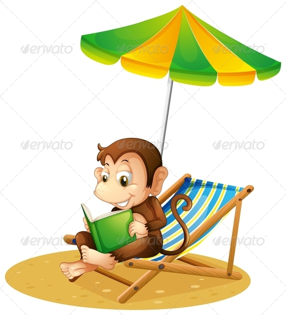 GraphicRiver A Monkey Reading a Book at the Beach 8132159