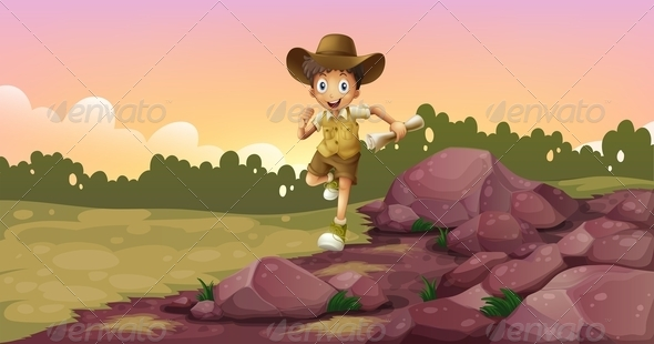 GraphicRiver Boy Running Holding a Map 8132161